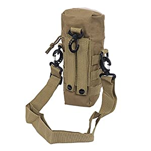 Tactical Molle Water Bottle Pouch Durable Zipper Closure Flip Bag Holder Ultra-light Carrier Shoulder Strap Pack Bag