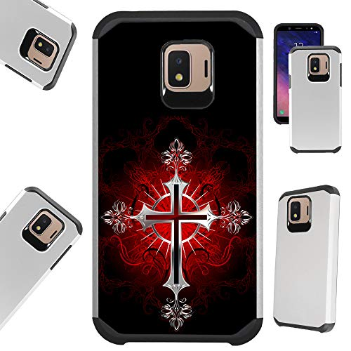 (Compatible Samsung Galaxy J2 (2018) | J2 Core | J2 Pro | J2 Pure | J2 Shine | J2 Dash Case Hybrid TPU Fusion Phone Cover (Red Gothic Cross))