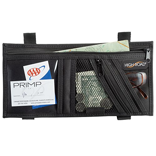 High Road Visor Organizer with Zip Pockets and Padded Sunglasses (Auto Visor Organizer)