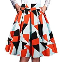 T-Crossworld Women's Vintage Flared High Waist A Line Pleated Midi Skirt with Pockets
