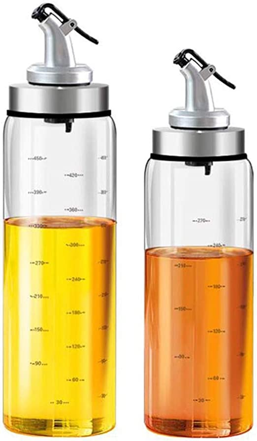 Cooking Oil Container with Measuring for Kitchen and BBQ GuDoQi Oil and Vinegar Dispenser Bottles Set 300ml and 500ml Glass Olive Oil Bottle with Pour Spout Leak-Proof and Drip-Free