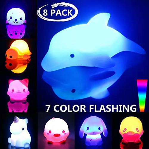 Bath Toys, 8 Packs Light-Up Floating Bathtime Fun Toys, 7 Color Flashing Bathtub Water Toys for Toddlers Kids Infants Boys Girls Animal Toy Set