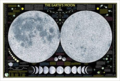Geographic Map Of Earth.National Geographic Earth S Moon Wall Map Laminated 42 5 X 28 5