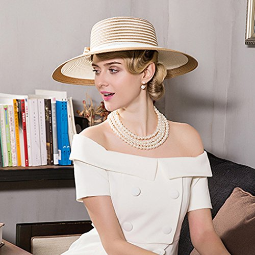 Dovaly Womens Fascinator Kentucky Derby Large Brim White Gold Striped Bowknot Sunhat by Dovaly (Image #5)