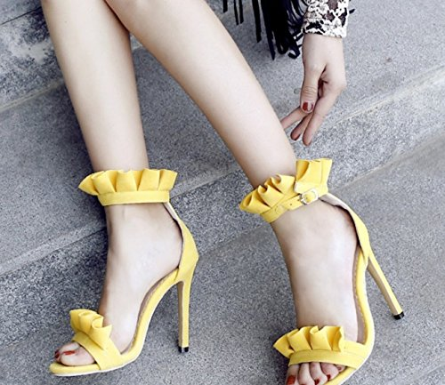 SHINIK Femmes Chaussures Open Toe Chaussures à Talons Hauts Matte Ruffle Grande Taille D'été 40-52 Yards (Couleur : Jaune, Taille : 50)