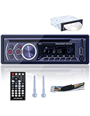 Hikity Single Din Car Stereo Bluetooth Audio Car DVD Player Hands Free Calling USB Fast Charging Power-Off Memory Multimedia MP3 Player with AUX-in SD USB Input + Remote Control