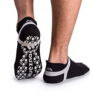 Muezna Men's Non Slip Yoga Socks, Anti-Skid Pilates, Barre, Bikram Fitness Hospital Slipper Socks with Grips, Size 5-13