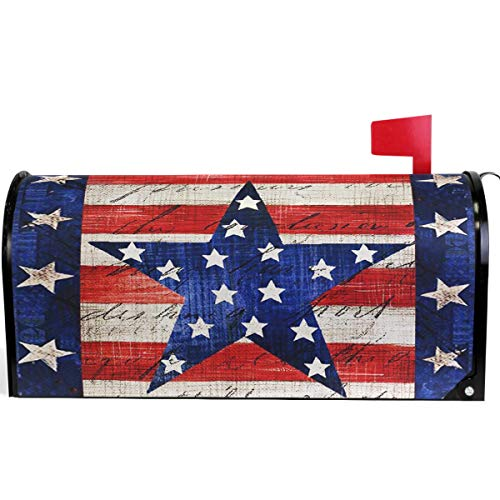 (Wamika American Memorial Independence Day Patriotic Eagle Star Mailbox Cover Magnetic Standard Size,Spring 4th of July Letter Post Box Cover Wrap Decoration Welcome Home Garden Outdoor 21