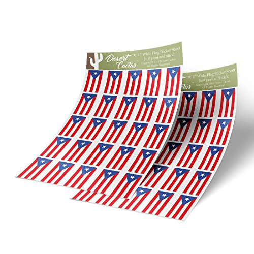 Puerto Rico State Flag Sticker Decal 1 Inch Rectangle Two Sheets 50 Total Pieces Kids Logo Scrapbook Car Vinyl Window Bumper Laptop ()
