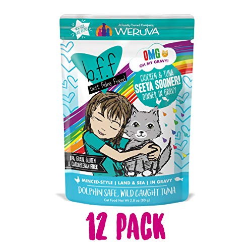 (B.F.F. Omg - Best Feline Friend Oh My Gravy!, Seeya Sooner! With Chicken & Tuna In Gravy Cat Food By Weruva, 2.8Oz Pouch (Pack Of 12))