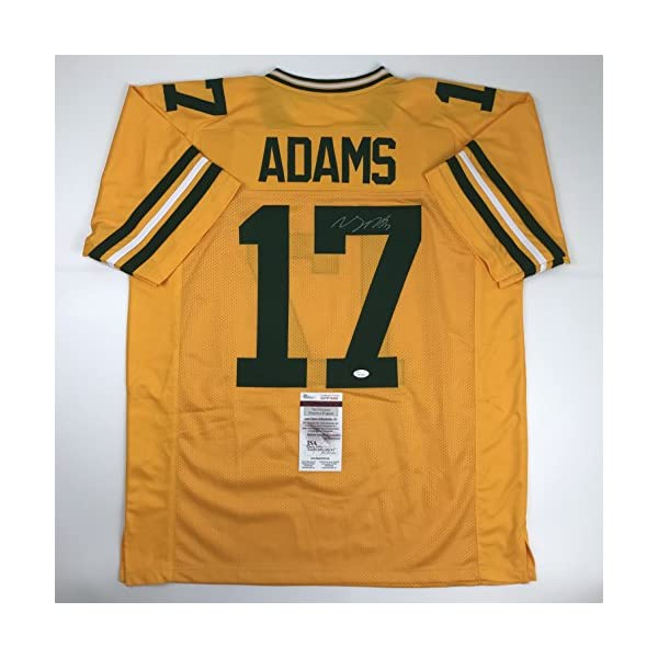 Coa Packers Fan Davante signed Adams Jsa Rush Yellow Cave Packer Color Bay Football Autographed Jersey Green