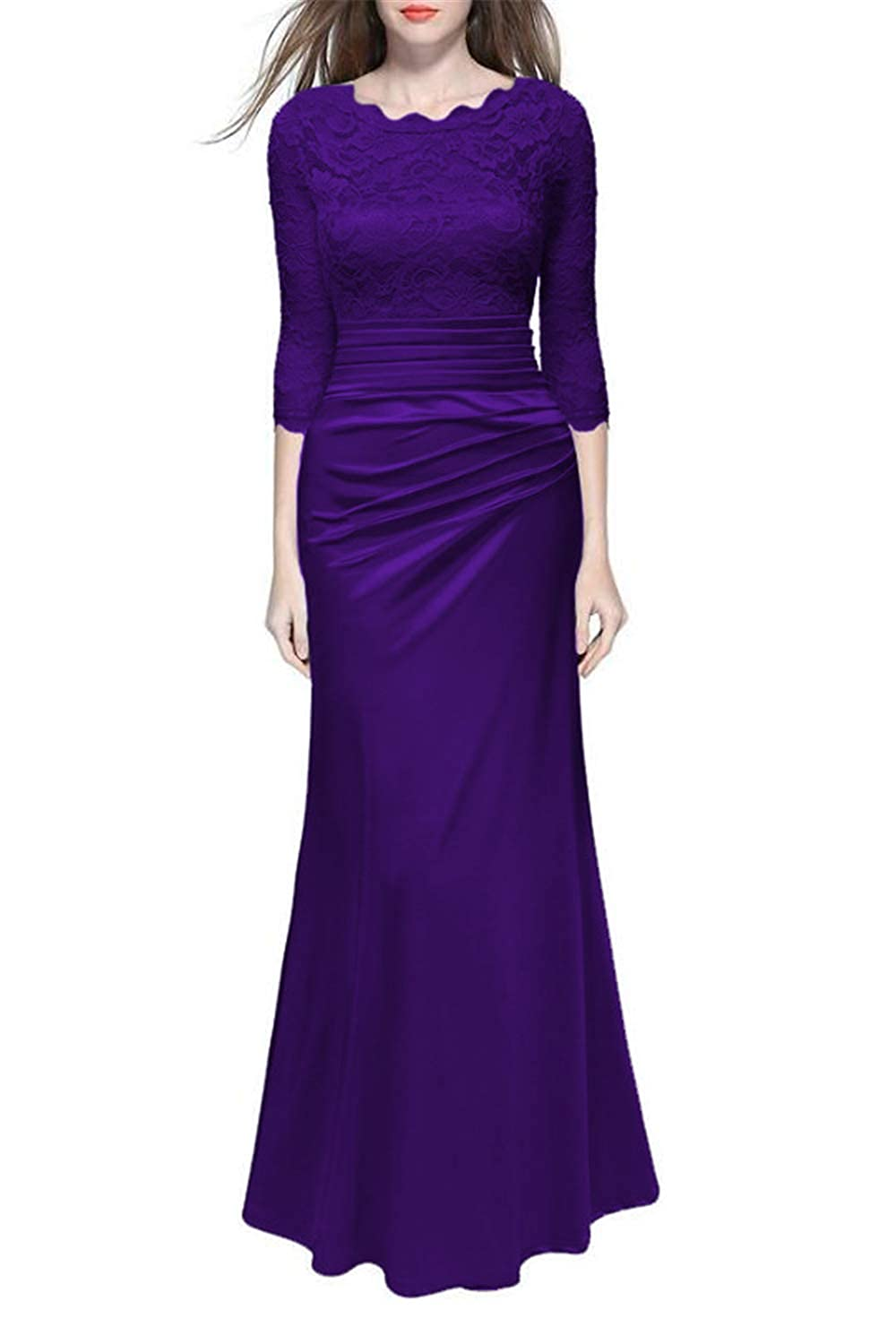 Evening Gown for Women Lace Wedding Dress Bridal Dresses 3//4 Sleeve Maxi Long Empire Waist