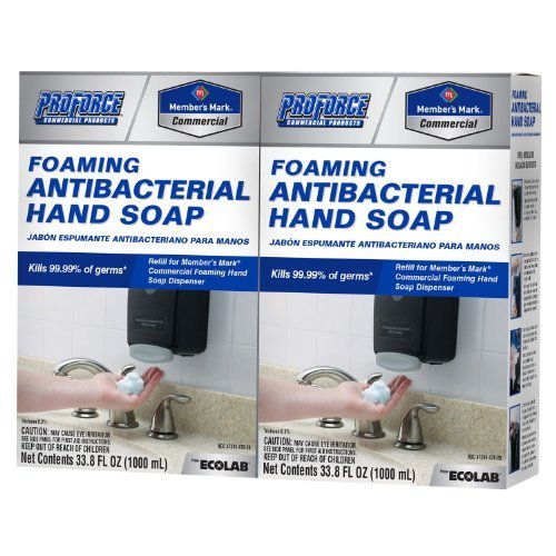 - Proforce/Members Mark Commercial Foaming Antibacterial Hand Soap 2 pack Refills, 33.8 Fl. oz