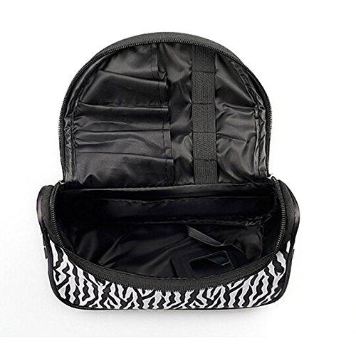 Velishy - Neceser, diseño de cebra, color blanco y negro: Amazon.es: Belleza