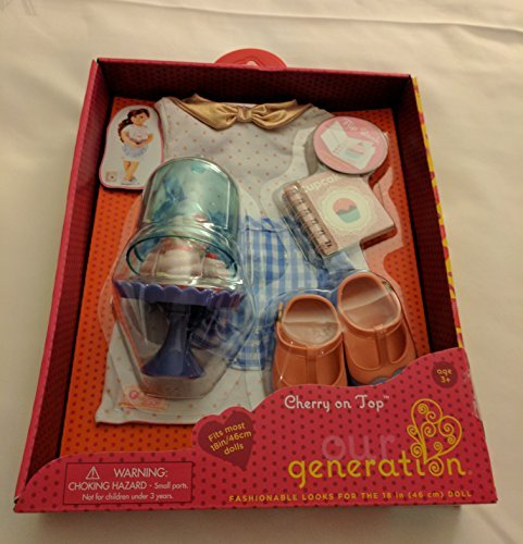 Our Generation Cherry on Top 18 Doll Clothes & Baking Accessories