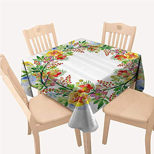 (WilliamsDecor Flowers Decor Christmas Tablecloth Napkins Wreath with Branches Flowers and Leaves Save The Date Card Invitation PrintMulticolored Square Tablecloth W54 xL54 inch)