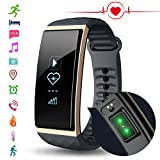 Fitness Tracker Watch with Heart Rate monitor, Cubot S1 Smart Band Bracelet Calorie Counter Wristband Sleep Tracker Activity Health Tracker Pedometer for Android 4.3 above or iOS 8.0 Smartphone, Gold
