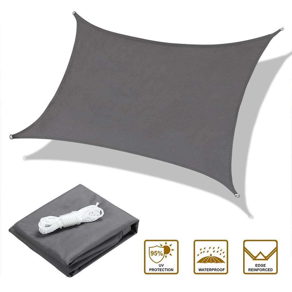 OYE HOYE 713'' Sun Shade Sail Grey Rectangle Waterproof Polyester Canopy Sail Shade UV Block for Grade Outdoor Patio Garden Backyard Sand