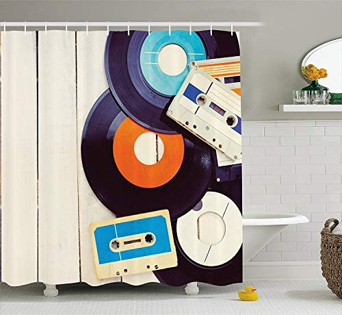 (Indie Shower Curtain, Gramophone Records and Old Audio Cassettes on Wooden Table Nostalgia Music, Fabric Bathroom Decor Set with Hooks, 60 W x 72 L inches, Blue Orange Black)