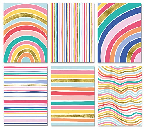 Blank Cards with Envelopes - 48 Striped Blank Note Cards with Envelopes (with Gold Foil) - Six Different Assorted Cards for All Occasions! Blank Notecards and Envelopes Stationary Set for Personalized
