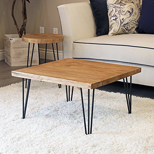 WELLAND Rustic Square Old Elm Coffee Table Unfinished (Table Wood Look Dining Reclaimed)
