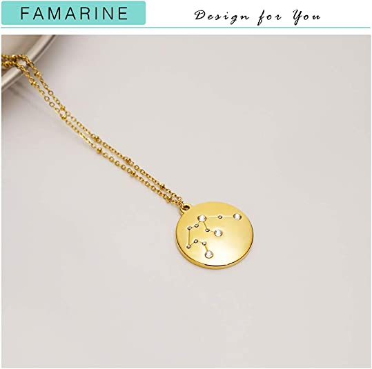 Gold Parrot Charm Necklace N2198 Hand Stamped Initial or Geometric Zodiac Constellations Horoscope Gift 18K Gold Plated Bird Parrot Charm