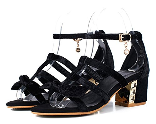 Black Bow Sandals With Heel Chunky Womens Open Medium Strappy Cutout Ankle Buckled Toe Dressy Strap Aisun Shoes axZ7w