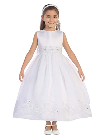 56b1d7499c 5639 White Full Length Dress w Corded Lace Trim   Rhinestone Accent ...