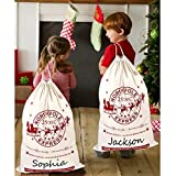 Aparty4u 2pcs Canvas Christmas Bags, Hessian Burlap Santa Sacks Bags with Drawstring Large Size 20x28 Inch