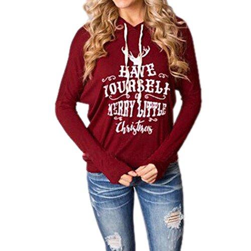 (Xmas Sweatshirts, Kimloog Women Merry Christmas Long Sleeve Drawstring Hoodies Sweatshirts Jumper Sweater Pullover (L, Red))