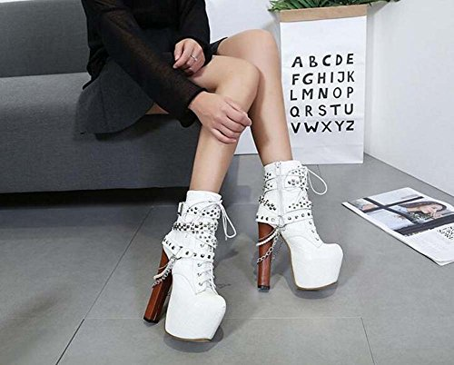 nbsp;cm Belt Boots Platform Shoes Zip Chain Engine Cross Chunkly Size nbsp;10 8 16 Black Thick Party nbsp;14 Strap Toe PUND Handsome Lita Heel Wedding nbsp;12 UK Pointed Belt White Shoes Women dXTHw6