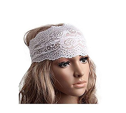 Multi Head Scarf (1PC White Elastic Fashion Hairband Headwear Nonslip Hair Band Sport Yoga Lace Wide Headband Turban Bohemian Headscarf Wrap Hair Accessories For Women Girls)