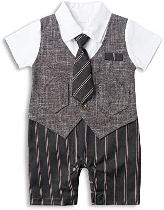 Baby Boy Suit Set, Toddler Short Sleeve Tuxedo Summer Infant Outfit with Necktie