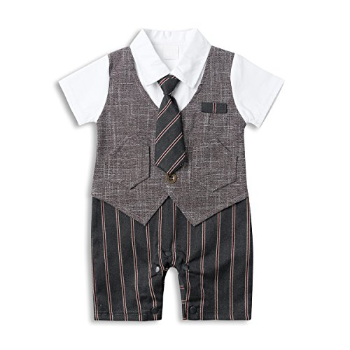 Gangsta Suits (Baby Boy Suit Set, Toddler Short Sleeve Tuxedo Summer Infant Outfit with Necktie)