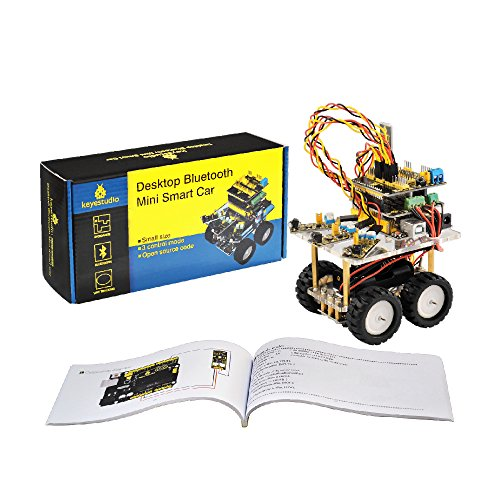 stem gifts for 5 year olds keyestudio Robot Car Kit for Arduino Uno R3 Project Kit 4WD Desktop Bluetooth Mini Smart Car with Tutorial for Stem Education