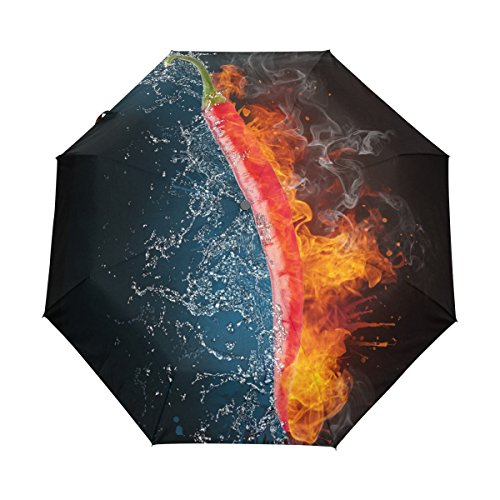 Ethel Ernest Folding Windproof Umbrella Cool Flaming Chili Pepper Waterproof Auto Foldable Umbrella