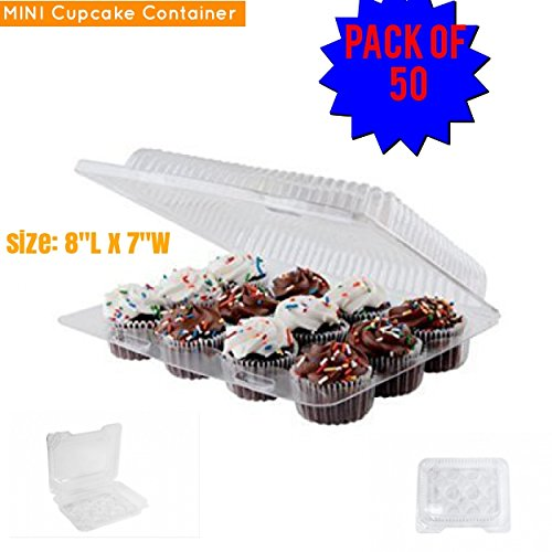 (Mini cupcake boxes Mini Cupcake Container, 12 compartment cupcake containers, mini cupcake containers pack of 50 BPA Free, Mini muffin)