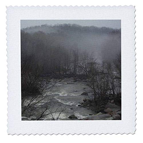 (3dRose Stamp City - landscape - Photo of the Enoree River flowing after a storm in the morning fog. - 12x12 inch quilt square (qs_308707_4))