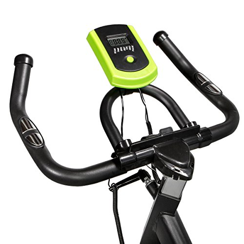 XtremepowerUS PRO 40 Exercise Bike w/ 40lbs Chrome Flywheel (Black and green, Regular)