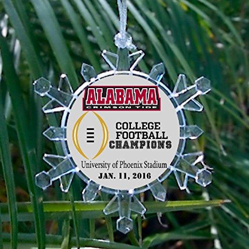 (Alabama Crimson Tide Football National Champions Snowflake Blinking Holiday Christmas Tree Ornament)