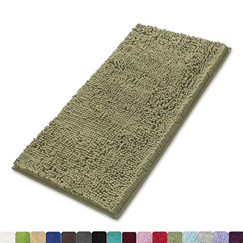 MAYSHINE 24x39 inch Non-Slip Bathroom Rug Shag Shower Mat Machine-Washable Bath mats with Water Absorbent Soft Microfibers of - Sage Green