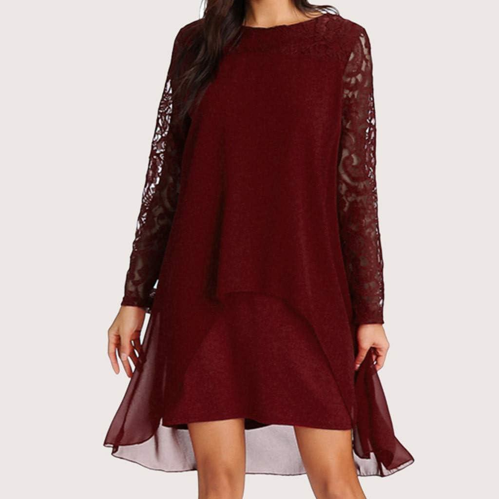 Women Chiffon Dress Overlay Lace Long Sleeve Loose Dresses New Knee Length Fashion