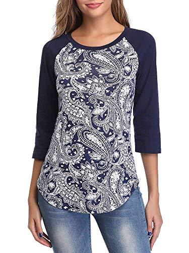 1f352c33 HUHOT Cotton Crew Neck Jersey Shirt Short Sleeve Navy Paisley X-Large