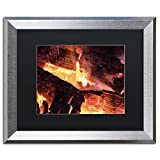 Trademark Fine Art Fireplace by Kurt Shaffer, Black Matte, Silver Frame 16x20-Inch