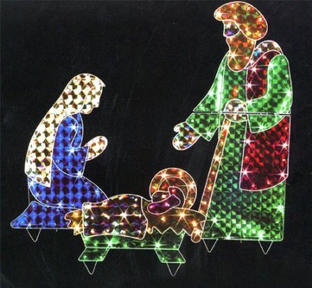 Outdoor Lighted Nativity Scene Holy Family Set in US - 4