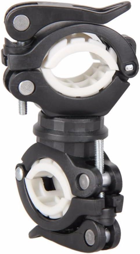 SODIAL 360 grados bicicleta giratoria luz de la bicicleta doble soporte LED frontal linterna lampara manejar de la bomba accesorios de bicicleta negro + blanco