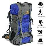 TechCode Camping Rucksack, 60L Large Capacity Anti Tear Advanced Nylon Sports Backpacks Waterproof School Daypack Bag for Hiking, Shopping, Cycling, Traveling, Camping or Outdoor Activity(Blue)