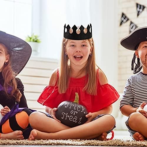 Shindel Glitter Felt Crown, 6PCS Crown Hats Party Crown Hats for Princess Party Favor, Halloween, Christmas