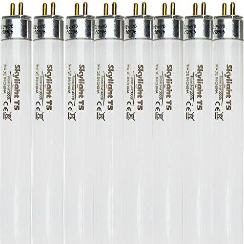 Skylight T5 Bulb 54W 4 FT High Output (HO) Fluorescent Grow Light Lamp Fixture Replacement Bulbs (8 Count, Bloom 3000K Red Warm) - Grow Light T5 Fluorescent Lamp