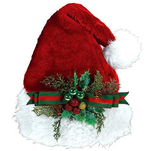 White Mistletoe Santa Hat - 11 in. x 15 in. Christmas Deluxe Embellished Santa Hat